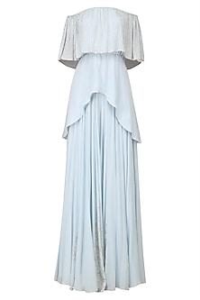 Powder Blue Off Shoulder Top and Flared Skirt Set