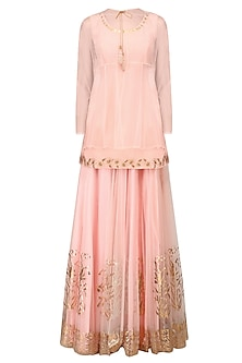 Pink Peplum Top, Overlay and Gold Foil Work Skirt Set by Baavli