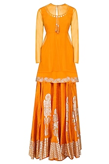 Orange Peplum Top, Overlay and Silver Foil Work Skirt Set by Baavli