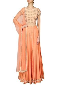 Orange Jaal Embroidered Petal Sleeves Lehenga Set by Baavli