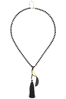Black Tassel and Faux Pearls String Necklace by Bansri