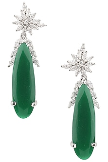 Gold Plated Zircons and Green Semi Precious Stone Earrings by Bansri