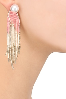 Gold Finish Pearl and Coral Beads Earrings by Bansri