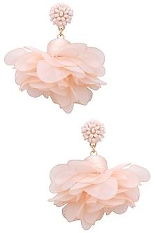 Peach pearl flower earrings   by Bansri