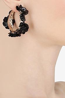 Black pearl and sequin hoop earrings by Bansri