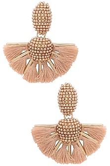 Brown pearl pom pom earrings by Bansri