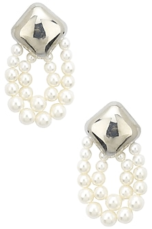 Rhodium finish pearl earrings by Bansri
