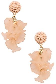 Pink pearl big flower earrings by Bansri