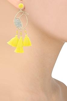 Yellow tassel and grey pearls bird motif earrings  by Bansri
