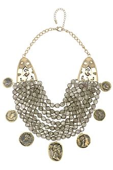 Gold finish grey beads coin necklace  by Bansri