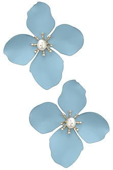 Gold finish blue flower studs  by Bansri