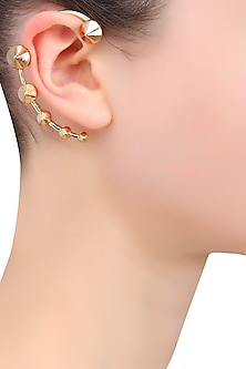 Gold Plated Cone Shape Multiple Motifs Earcuff by Bansri