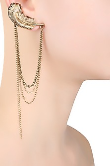 Gold Plated Chains Hanging Petal Earcuff