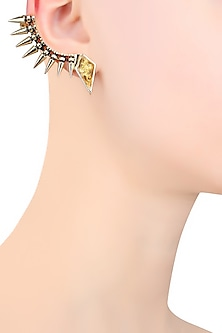 Gold Plated Crystal Top Spikes Earcuff