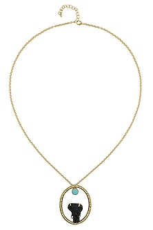 Gold Plated Black and Turquoise Stone Round Pendant Necklace by Bansri