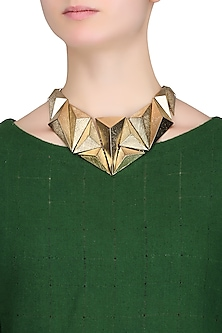 Gold Plated 3D Textured Geometric Shape Motifs Statement Necklace by Bansri