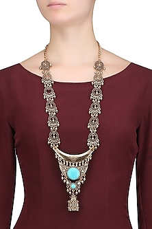 Gold Plated Textured Motifs and Gungroo Tribal Oversized Statement Necklace by Bansri