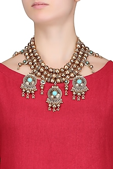 Antique Gold Plated 3D Round Motifs Tribal Oversized Statement Necklace