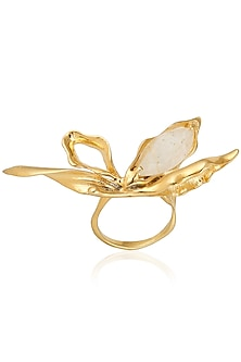 Gold Finish Clear Stone Bug Ring by Bansri