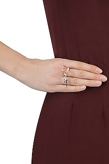 Rose Gold Finish Clear Stone Ring