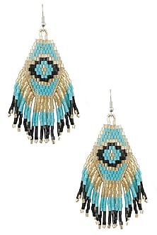 Silver Finish Turquoise and Black Beads Earrings by Bansri