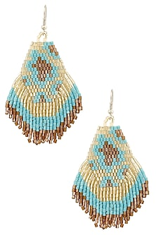 Silver Finish Turquoise and Gold Beads Earrings by Bansri