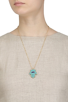 Gold Plated Turquoise Beads Hamsa Hand Pendant Necklace by Bansri
