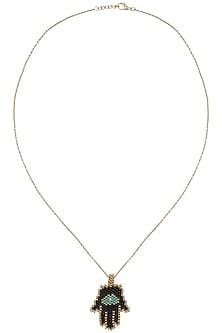 Gold Plated Black Beads Hamsa Hand Pendant Necklace by Bansri