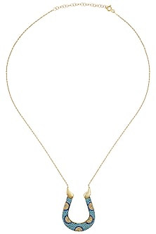 Gold Plated Horse Shoe Pendant Necklace by Bansri