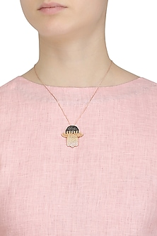 Rose Gold Plated Hamsa Hand Pendant Necklace by Bansri