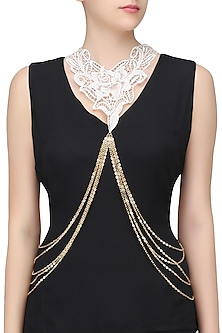 Gold Finish White Crochet Chain Body Harness by Bansri