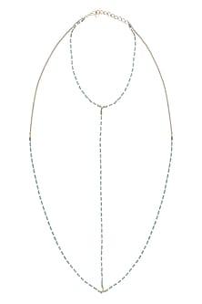 Gold Finish Blue Crystals Body Harness by Bansri