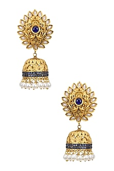 Gold Finish Blue Crystals and Pearl Jhumki Earrings by Bansri