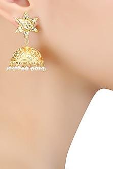 Gold Finish Pearl Textured Jhumki Earrings by Bansri