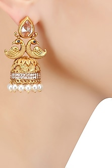 Gold Finish Pink Crystals and Pearl Textured Jhumki Earrings by Bansri