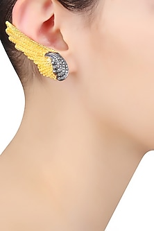 Gold and Gunmetal Finish Zirconia Feather Earrings