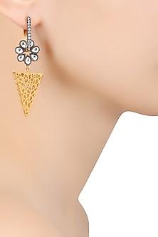 Gold and Gunmetal Finish Zirconia Pyramid Earrings by Bansri