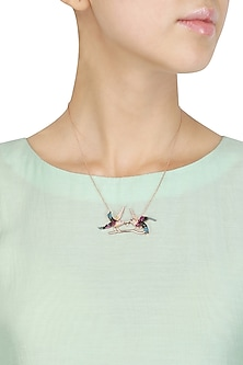 Rose Gold Double Bird Pendant Necklace by Bansri
