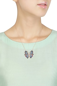 Rose Gold Blue and Orange Butterfly Pendant Necklace by Bansri