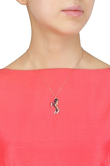 Rose Gold Blue and Gold Horse Pendant Necklace by Bansri