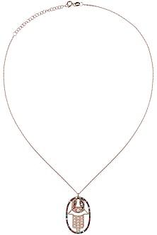 Rose Gold Swarovski Crystals Hamsa Pendant Necklace by Bansri