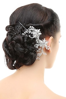 Rhodium plated crystals and white stone metal haircomb