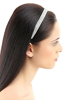 Rhodium plated stones line elasticated headband