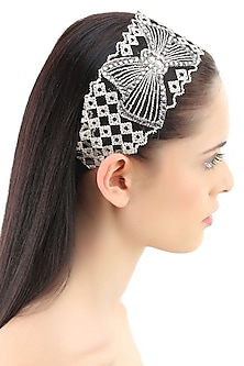 Gold embroidered net bow headband by Bansri