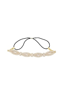 Gold plated stone studded twisted rope pattern elasticated headband by Bansri