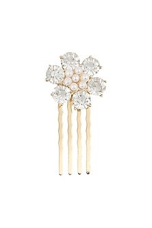 Set of 6 gold plated stone studded flower hairpins by Bansri