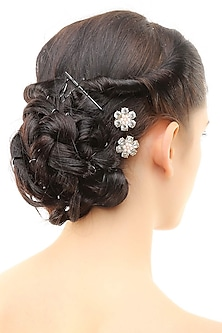 Set of 6 gold plated stone studded flower hairpins
