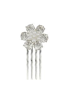 Set of 6 rhodium plated stone studded flower hairpins by Bansri