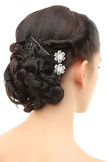 Set of 6 rhodium plated stone studded flower hairpins