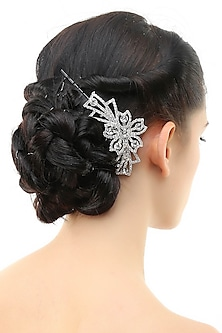 Rhodium plated crystals and stone studded haircomb